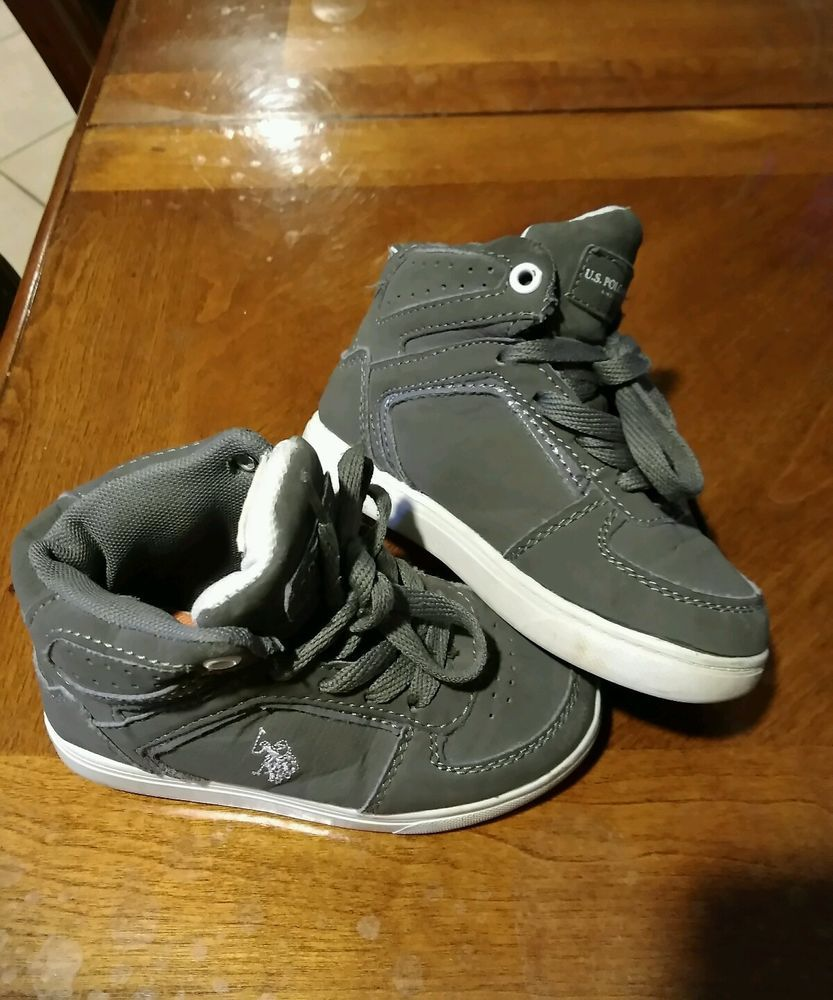 U.S. Polo Assn. Toddler Boys 9 Black High Top Sneakers Lace Up EUC! #USPoloAssn…