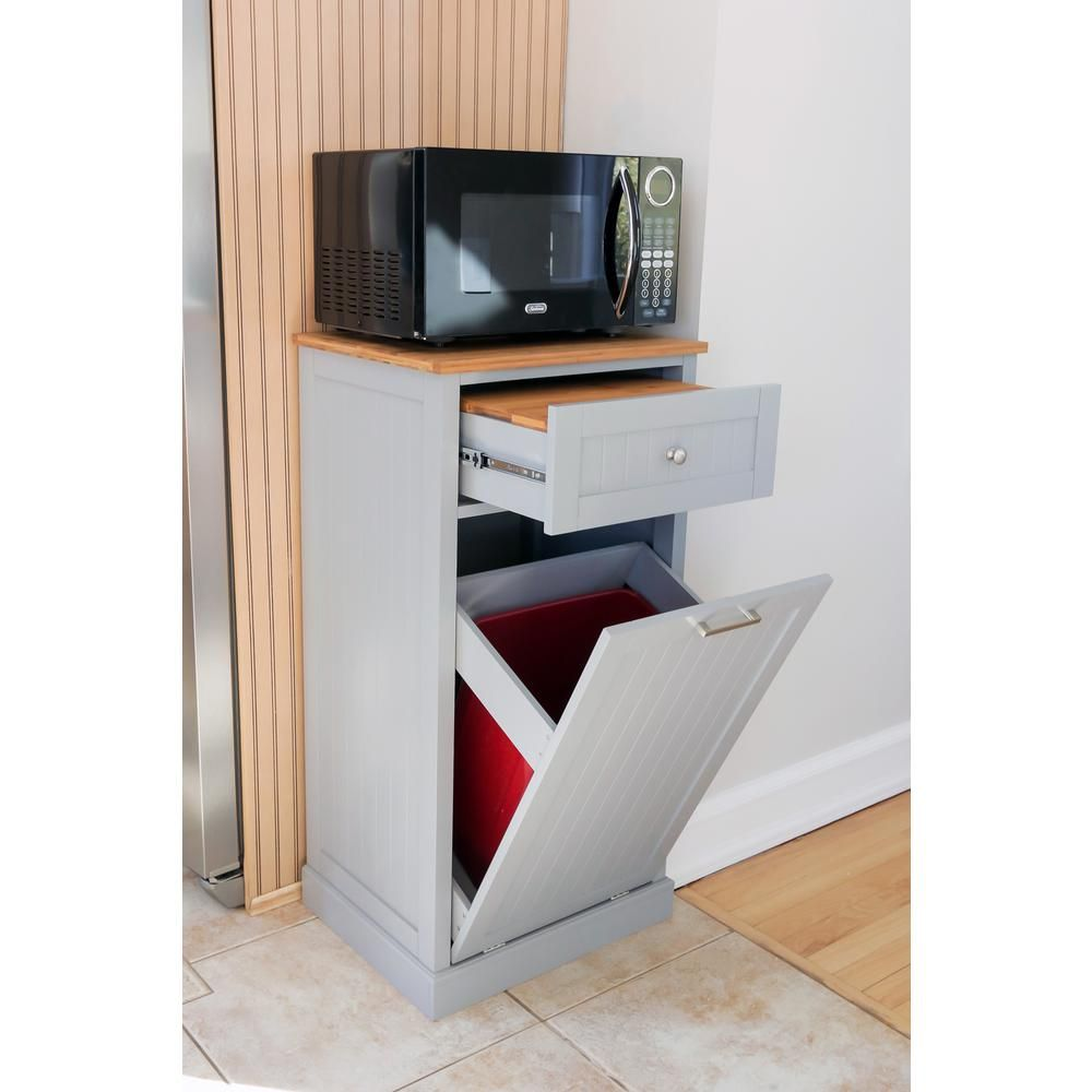 Grey Microwave Kitchen Cart with Hideaway Trash Can Holder ...