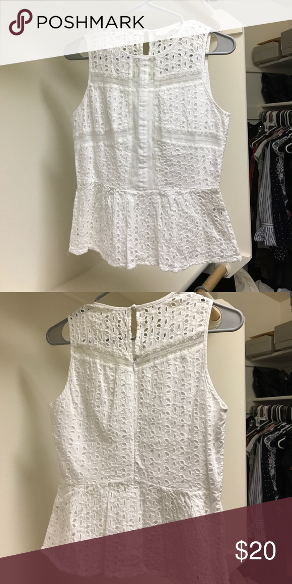 White cotton peplum shirt Beautiful white cotton peplum shirt with zip and button in back Sugarlips Tops Blouses