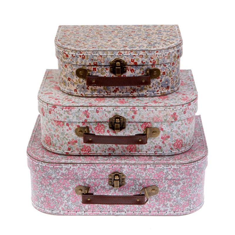 Lot de 3 valises Floral Rose Vintage Sass /& Belle Filles chambre de ...