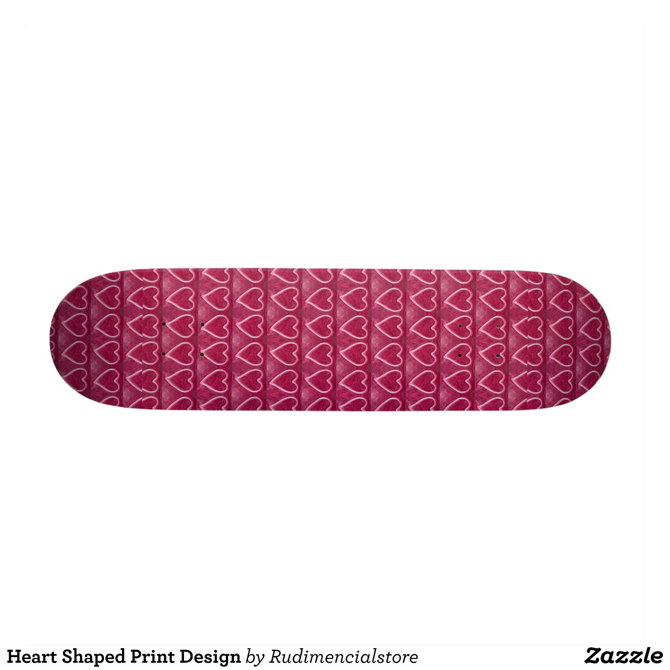 Heart Shaped Print Design Skateboard Zazzlecom Skateboards