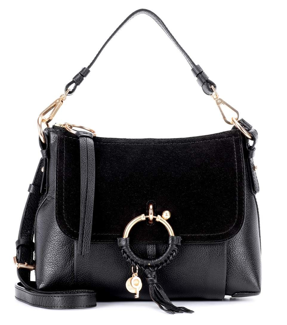 f2be7e1dd990 395 Joan Small black leather and suede crossbody bag