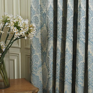 Two Panels Curtain Neoclassical , Floral / Botanical Bedroom - cortinas azules