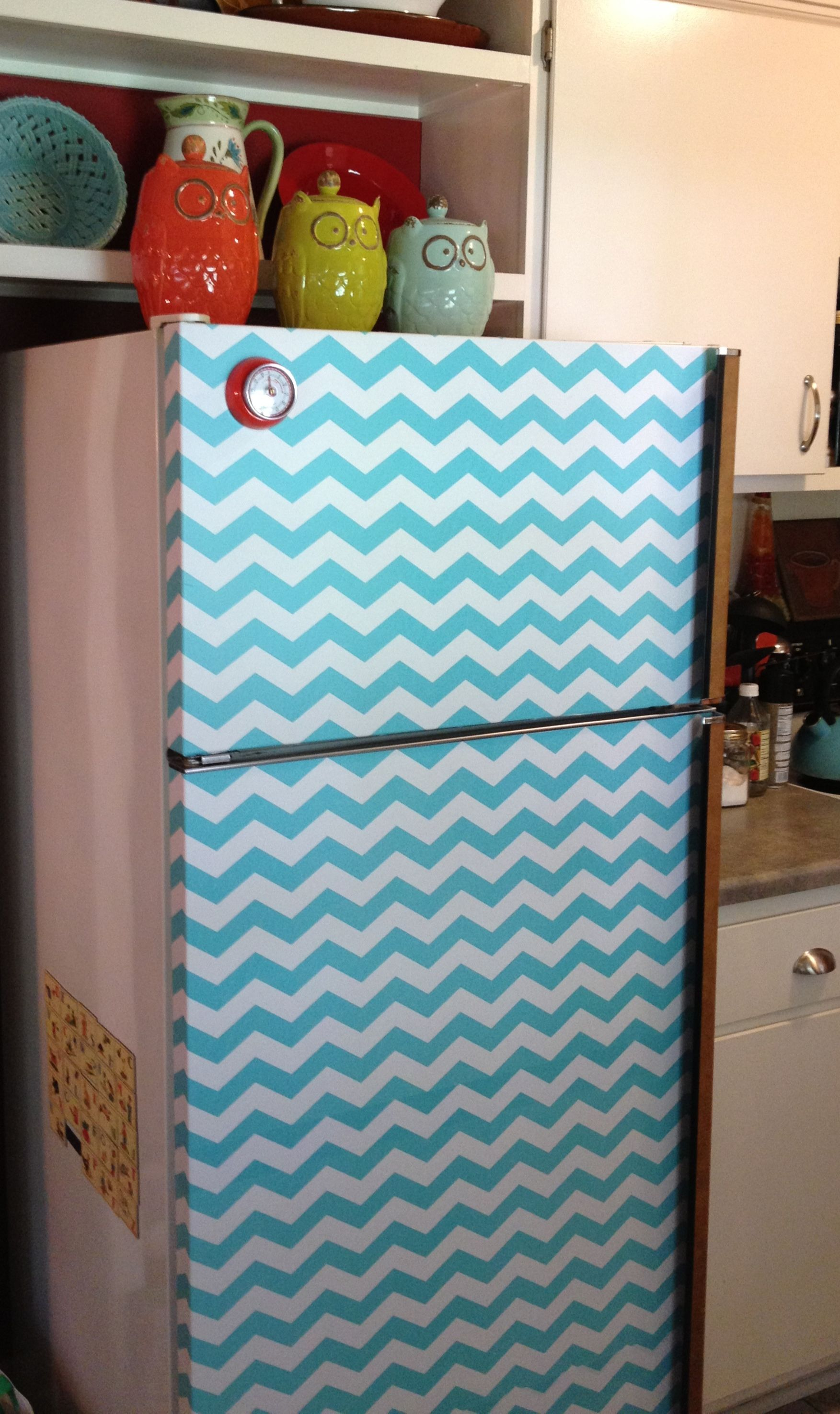 DIY refrigerator make over using self adhesive shelf liner Kitchen