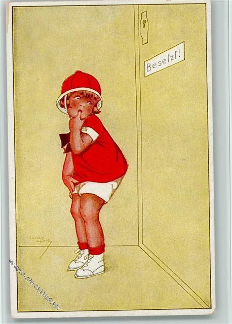Künstlerkarte Spark, Ch. Nr. 367 Toilette besetzt - Kind muß warten: