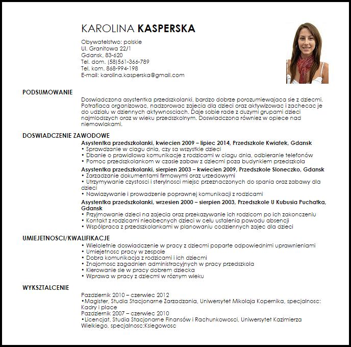 CV / list motywacyjny nauczyciela przedszkola wzór i