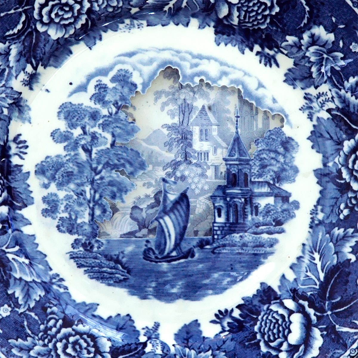 Landscapes Sculpted into Layered Antique Dinner Plates by Caroline ...