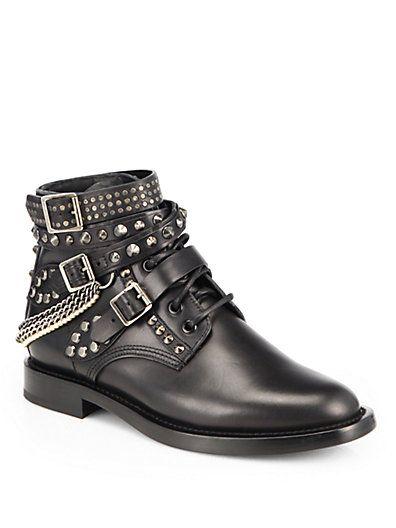 7739a5028e2 Saint Laurent - Rangers Embellished Leather Lace-Up Ankle Boots - Saks.com