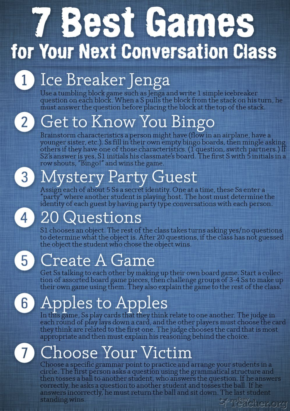 7 Best Games for Your Next Conversation Class: Poster | Efl