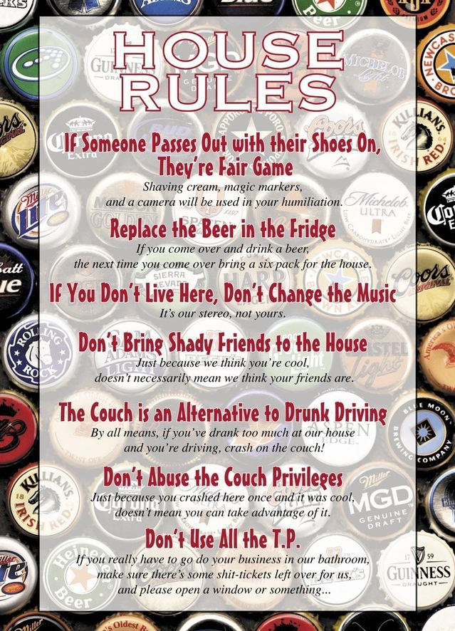 Image result for funny house rules for college students First