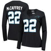 Christian McCaffrey Carolina Panthers NFL Pro Line by Fanatics Branded  Women s Authentic Stack Name   Number Long Sleeve V-Neck T-Shirt - Black 58a2c87a5