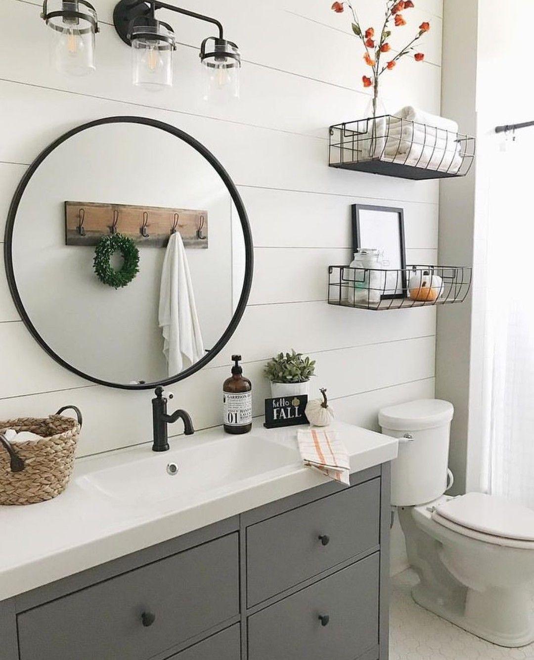 Gray Bathroom Cabinets Farm Sink Round Black Framed Mirror