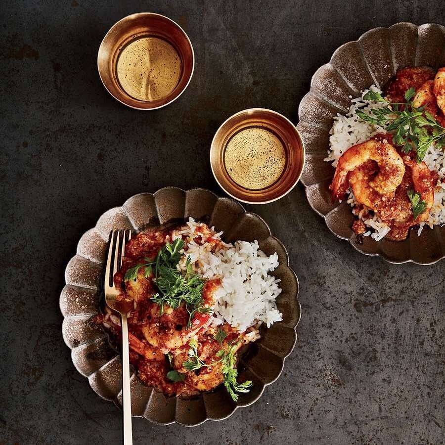 1071 likes 9 comments food wine foodandwine on instagram shrimp curry with coconut mustard seeds and chiles recipe andrew zimmern forumfinder