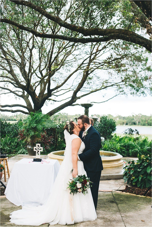 first kiss during wedding ceremony Mission Inn Resort Legends