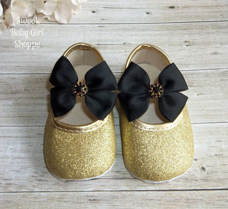 9a9b265d20db3 Black and Gold First Birthday Outfit - Gold Baby Shoes - Baby Girl Black  and Gold
