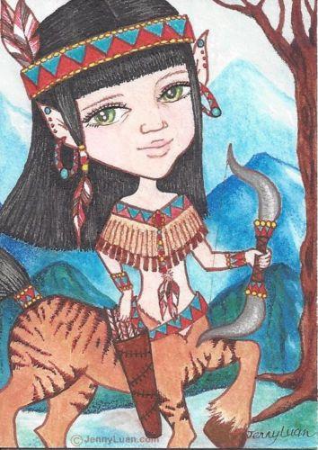 "ACEO TW Nov Fantacy Art Tiger Centaur Hunting ""Centaur Princess Tigerlily"" | eBay"