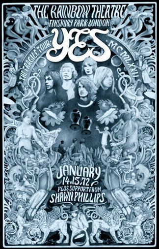Yes And Shawn Phillips Rainbow Theatre London Rock Poster Art