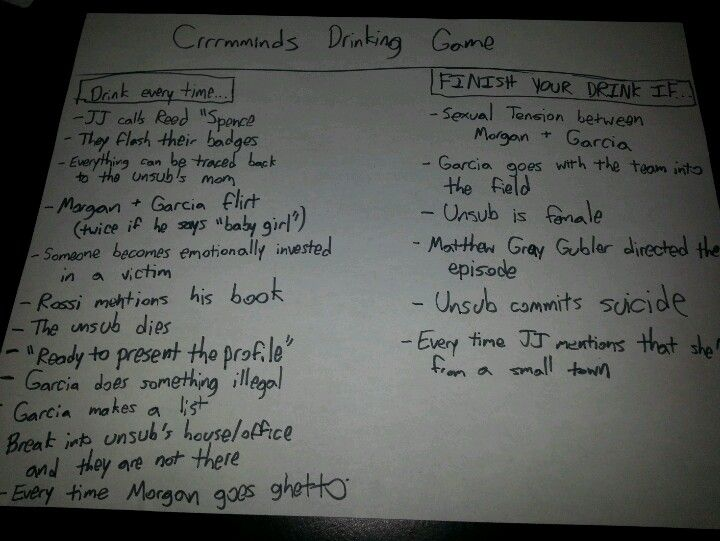 The Criminal Minds Drinking Game Or You May Know It By It S Full Title The Let S See How Many People Tv Show Drinking Games Criminal Minds Drinking Games