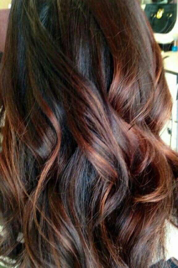 Brown Hair With Auburn Highlights Hair Styles Brunette Hair Color Hair Highlights