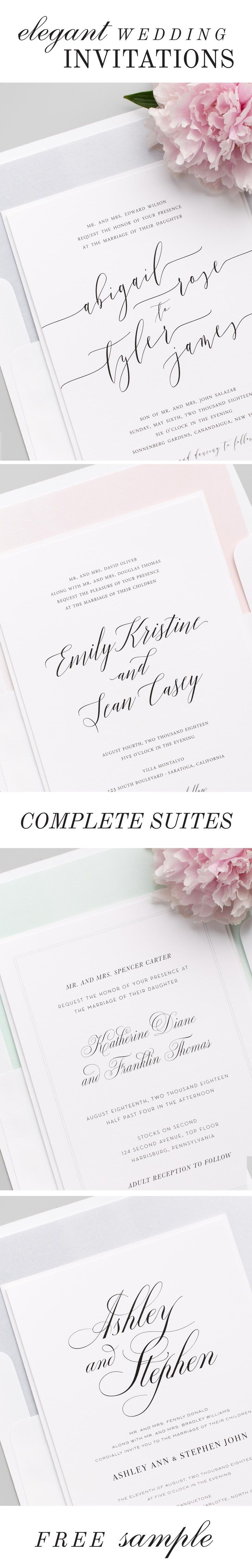 Click to shop over 100 gorgeous wedding invitations styled to perfection, featuring elegant calligraphy, customizable envelope liners, belly bands and more. Each design features a full suite of matching collection items to carry your stationery theme thro