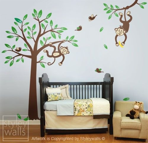 Monkeys Tree Wall Decal Children Nursery Vinyl Jungle Branch And Monkey Baby Room Decor Kids Sticker