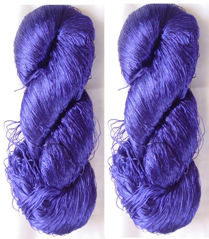 Thread Knitting Work Sari Woven Reel Silk 2 Skeins Yarn Lace Fabric 230g Weaving