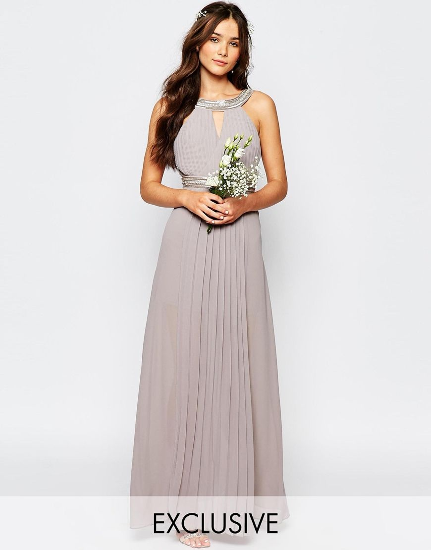 Image 1 of TFNC WEDDING Embellished Pleated Maxi Dress ...
