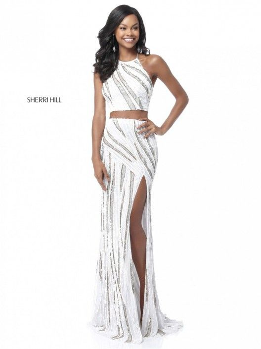 ac26824a7e43 Sherri Hill 51765 Beaded Romper with Long Skirt in 2019