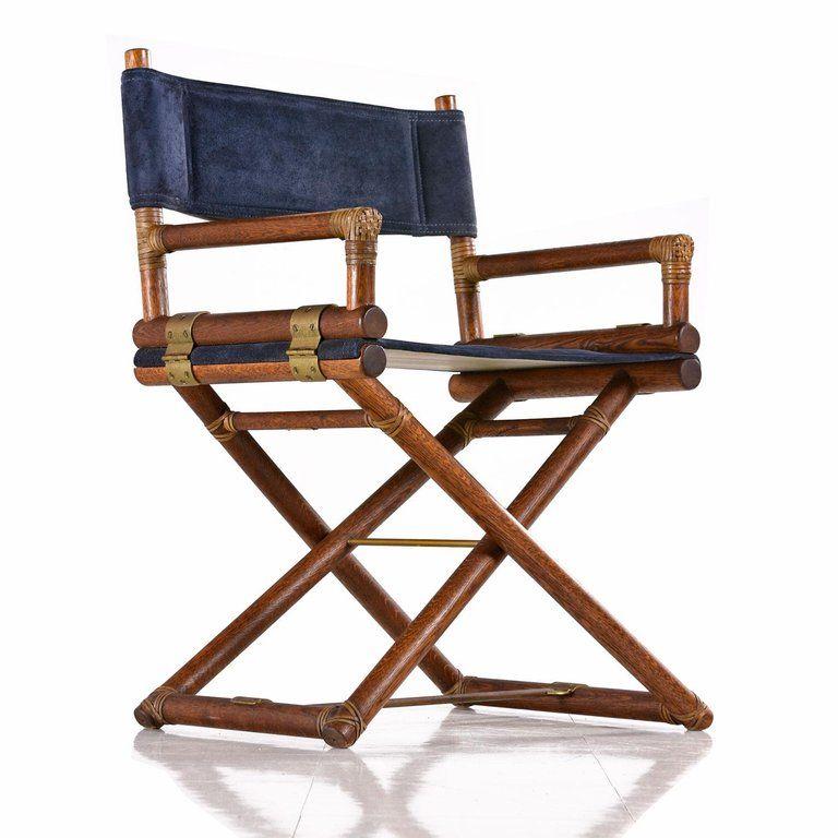 Mid Century Modern Mcguire Director Chair Vintage Dark Blue Suede