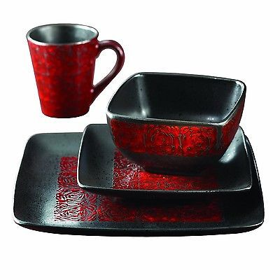 16 Piece Square Dinnerware Set Red/black Dishes Mugs Bowls Plates Kitchen  Cup