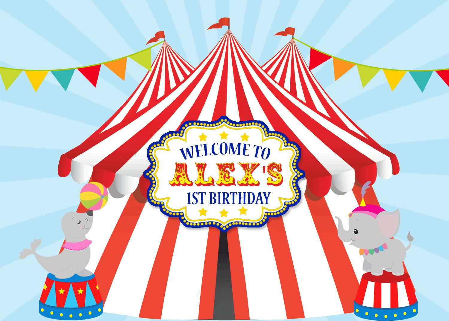 sign poster big top baby boy 1st birthday carnival baby shower printable backdrop circus tent photo prop booth dessert table banner