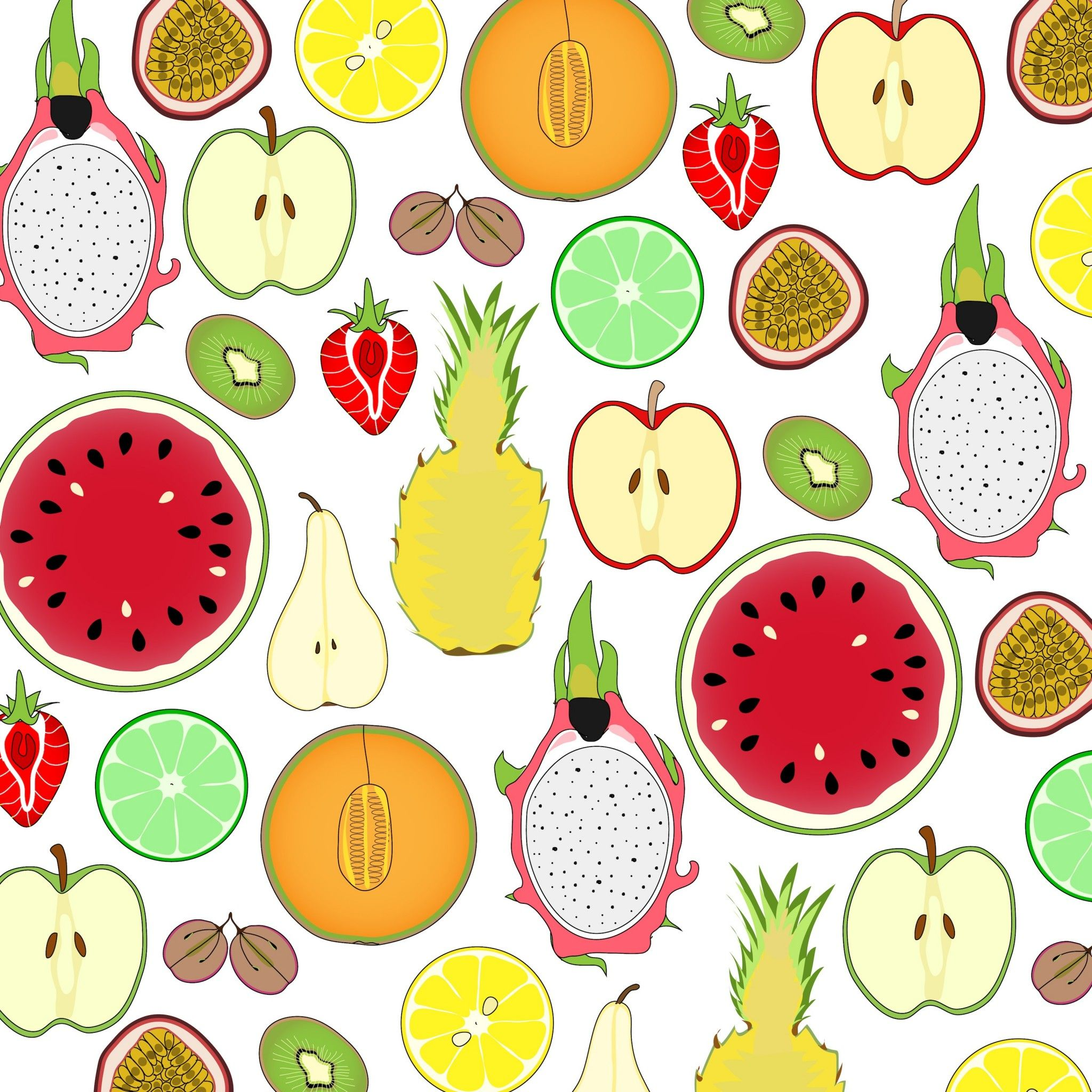 Mixed fruits pattern. Tap image for more fun pattern ...