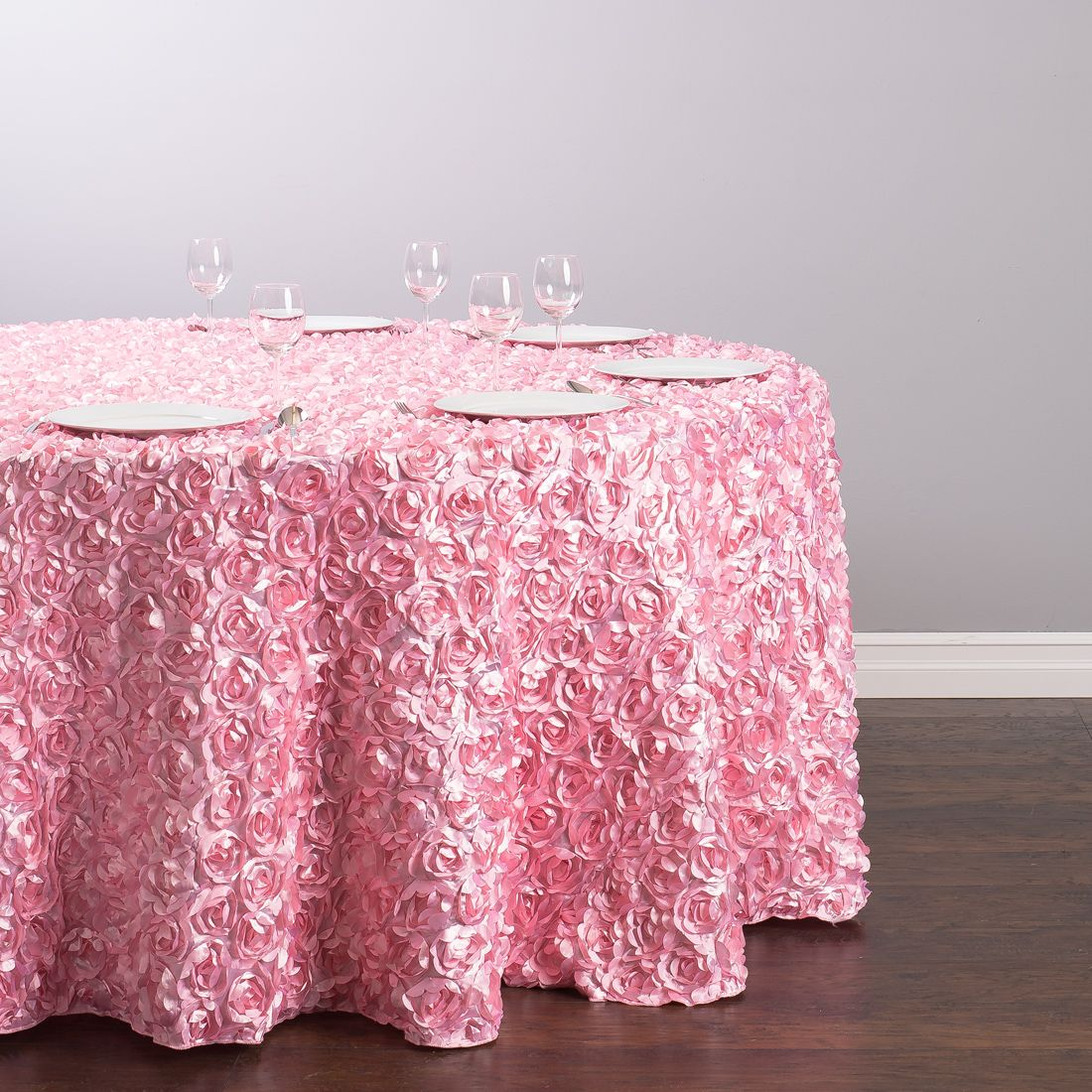 130 in. Round Rosette Satin Tablecloth Pink | Avent/Myree 9-12-15 ...