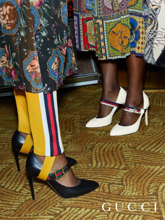 71dc7942499 Gucci Sylvie pumps featuring a Web stripe strap from the Gucci Pre-Fall  2017 collection by Alessandro Michele.