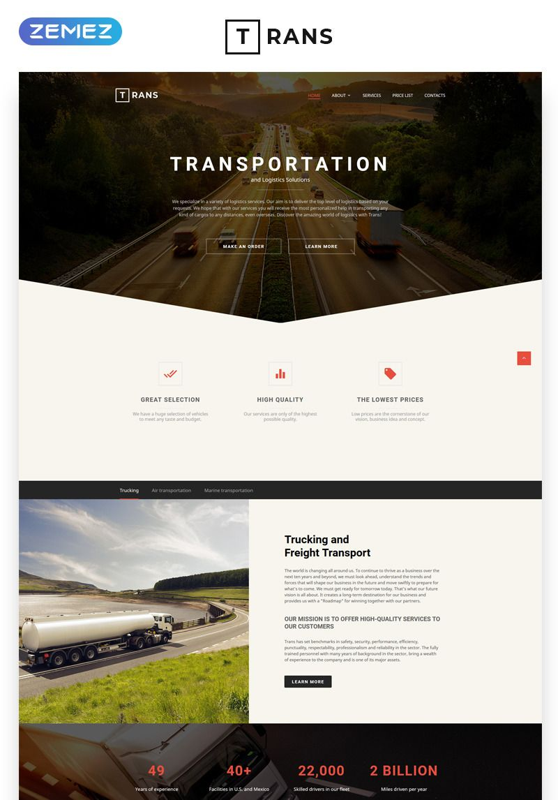 Transportation - Responsive Website Template - #57806 This