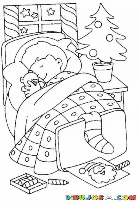 Colorear Chiquillo Durmiendo Abrazando A Su Osito Y Con Un Dibujo De Santa Cla Hojas De Navidad Para Colorear Imagenes De Ninos Durmiendo Dibujos Para Colorear