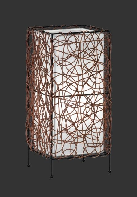 5156011-00 Trio - stolové svietidlo - ratan + biely textil