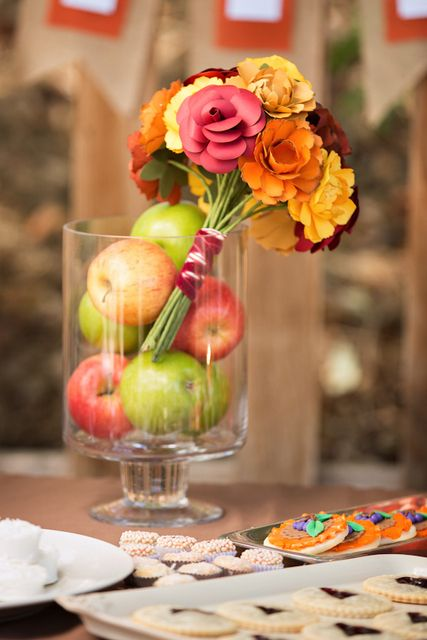 7a95dcadbcaa Pretty centerpiece at a Fall Bridal Shower! See more party ideas at  CatchMyParty.com!  partyideas  fallwedding