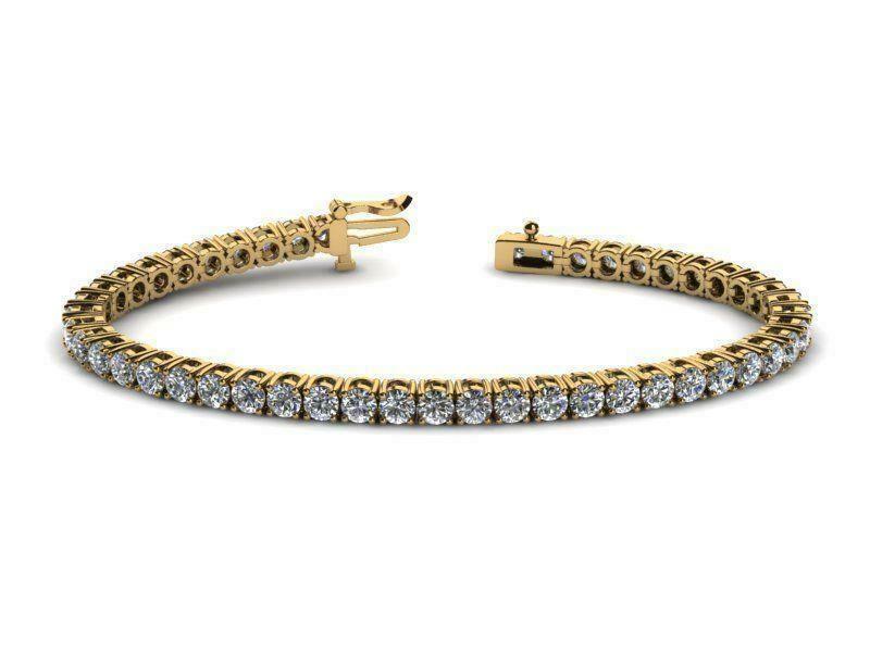 10 Carat Vvs1 Vvs2 F Diamond Tennis Bracelet Round 14 Karat Yellow Gold In 2020 Tennis Bracelet Diamond Gold Bracelet For Women Tennis Bracelet