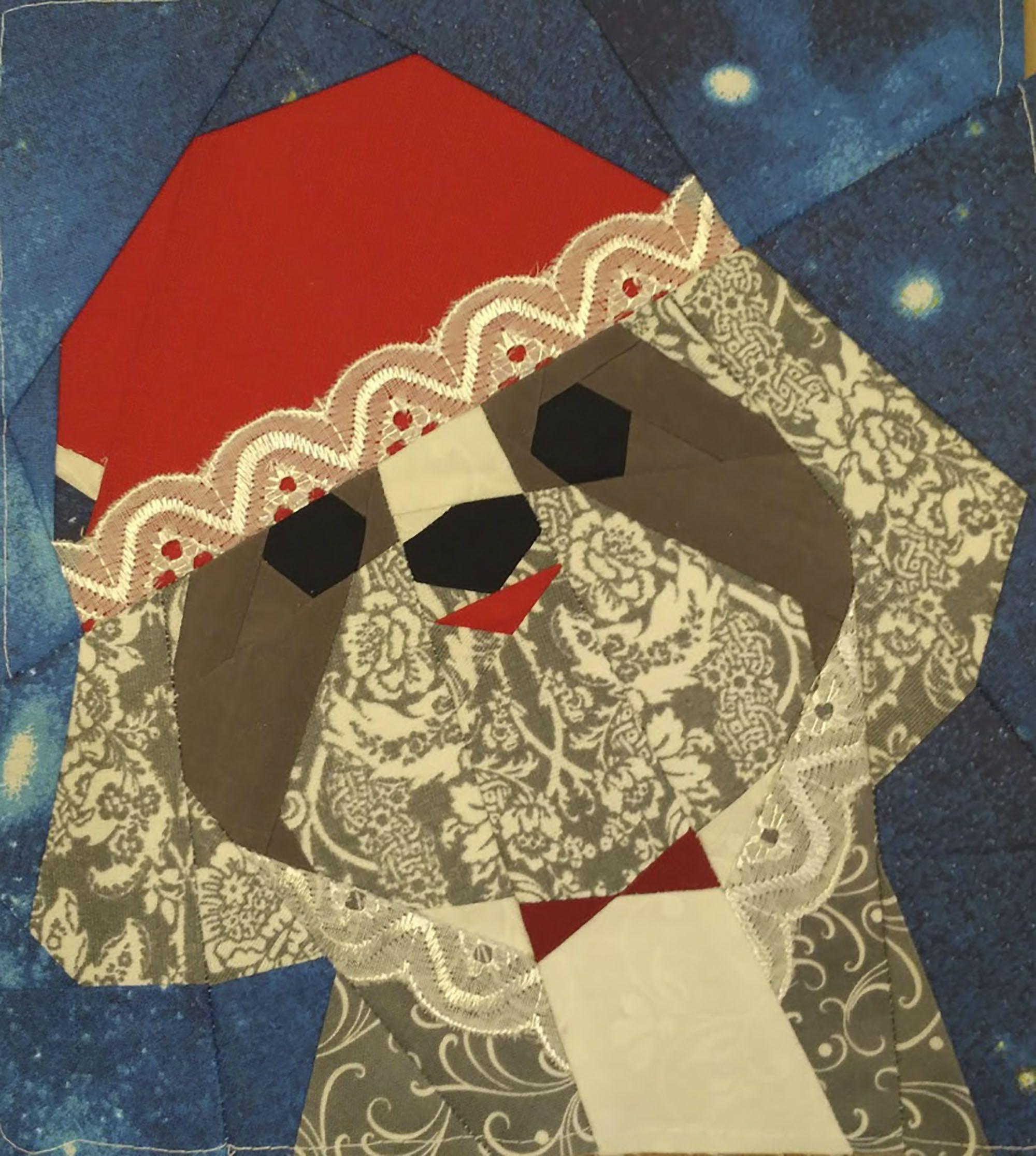 Shih Tzu Christmas quilt block pattern | Etsy | Christmas ...