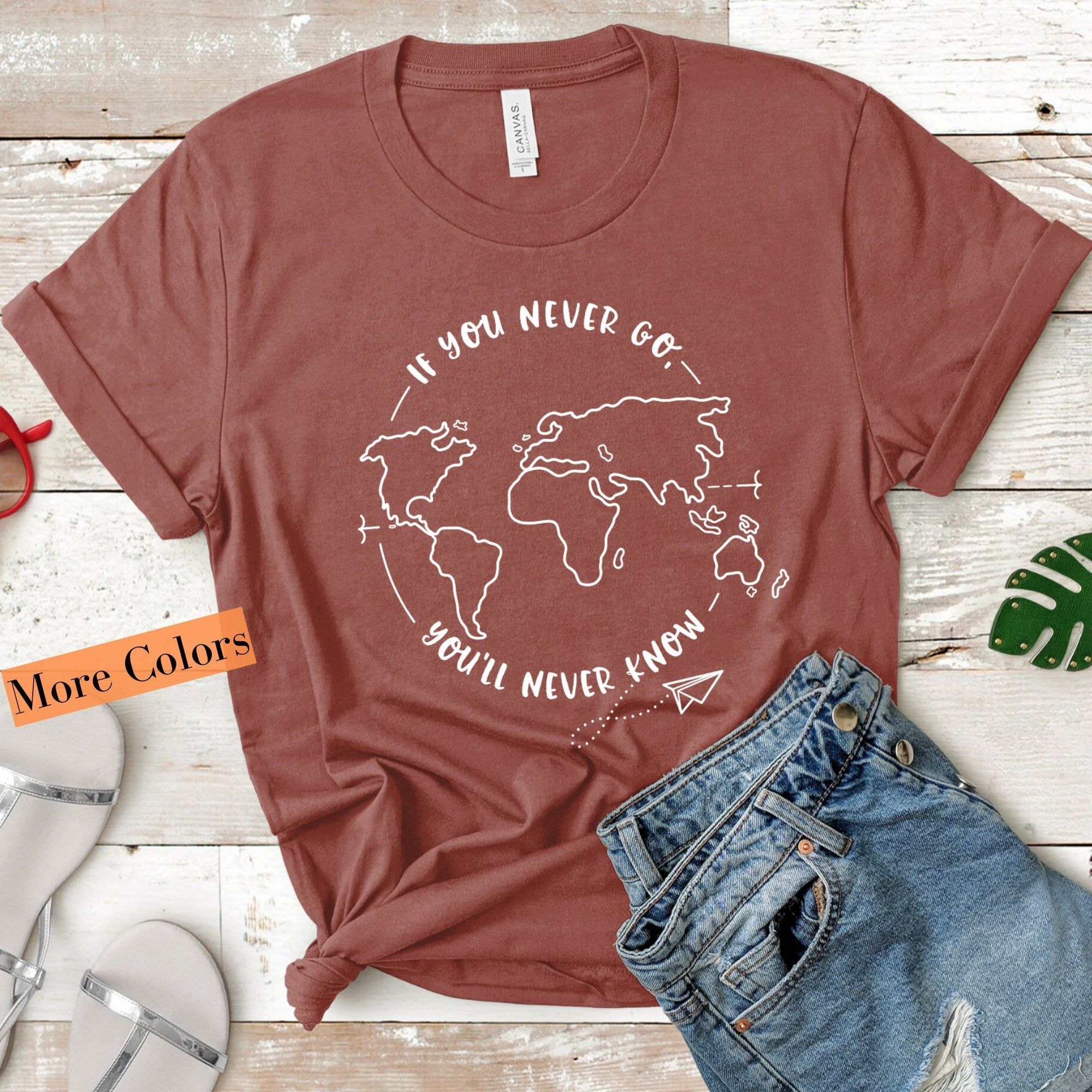 Photo of If You Never Go, You'll Never Know | Wanderlust Shirt | Woman Mauve Tshirt | Adventure Time Shirt | Travel Shirt | World Traveler Shirt – Travel Quotes | Inspirational | Shop