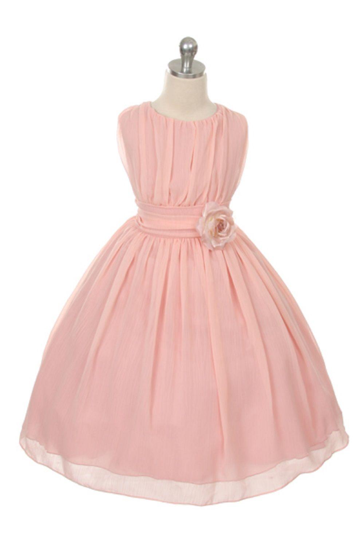 Blush Ruched Chiffon Flower Girl Dress | Pinterest