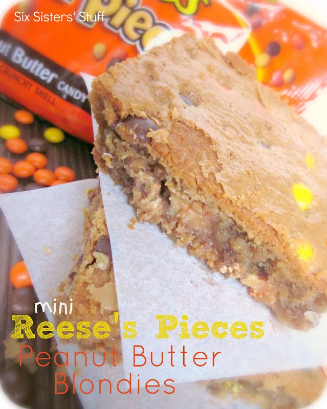 Mini Reese's Pieces Peanut Butter Blondies from sixsistersstuff.com.  A delicious peanut butter treat your family will LOVE! #recipes #dessert