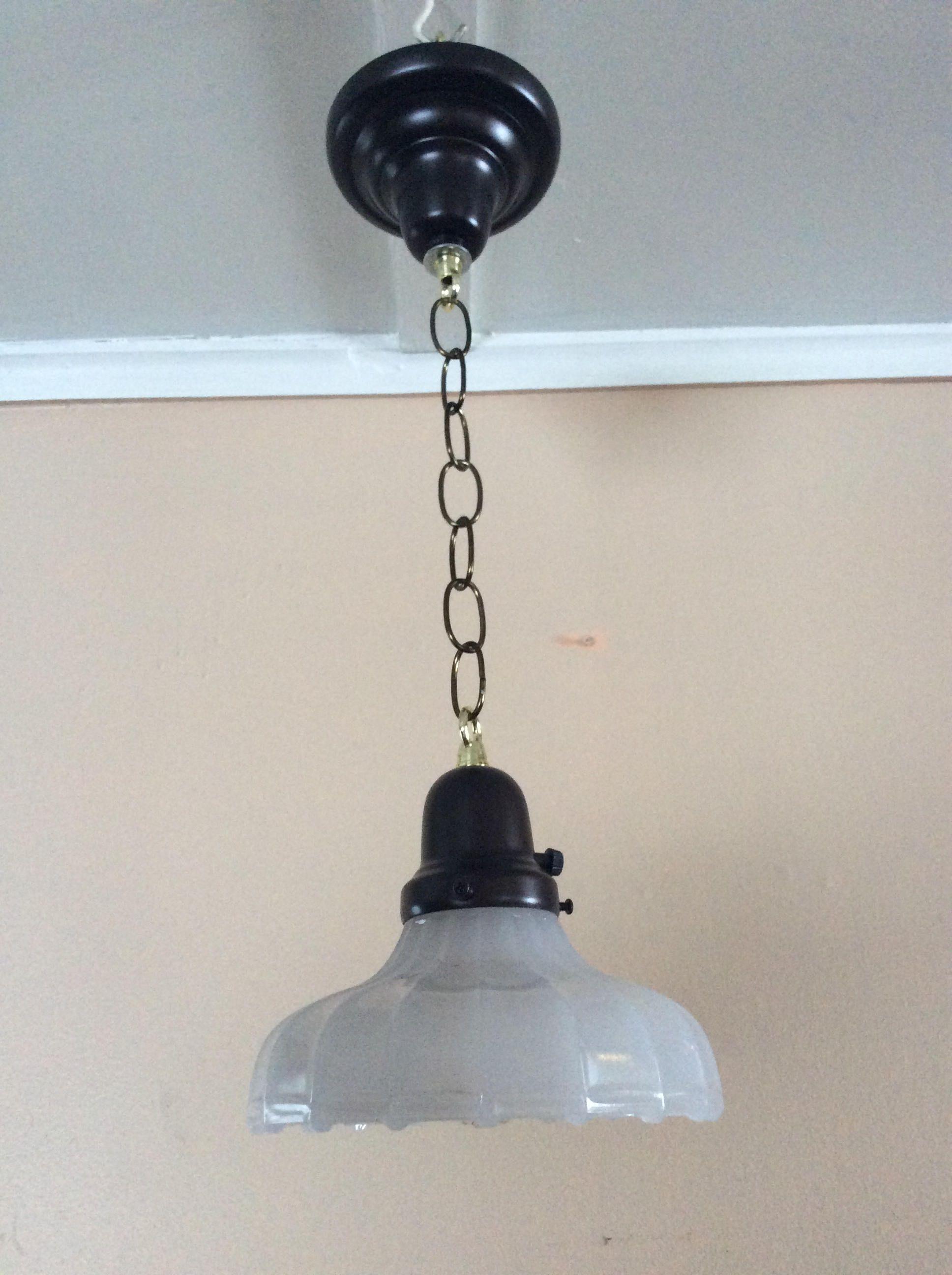 Vintage White Clam Scalloped Pendant Light 1930s Sheffield Style Pendant Light Old Lights Light