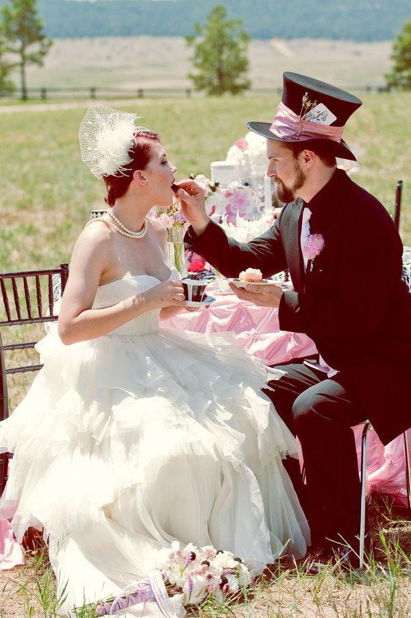 e6d4f0da9f1 Mad Hatter s Wedding Goes West Photo Shoot Alice in Wonderland Wedding  Theme. Mad Hatter Tea Party Theme. Wonderland Wedding.