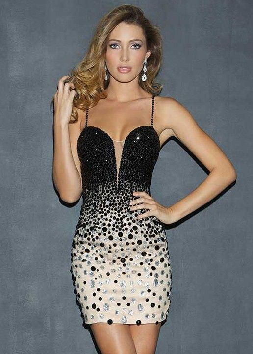 d6fe5b55ae242 Super Sexy Low Back Beaded Cocktail Dress with a Daring Plunging Neckline -  Night Moves 7025