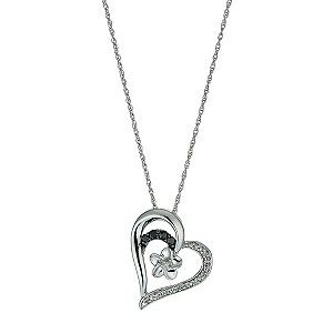 A fabulous sterling silver fine chain necklace, set with a beautiful heart pendant. Embellished with sparkling diamond, deep sapphires and finished with a simple flower detail, this is a unique twist on a classic heart pendant.