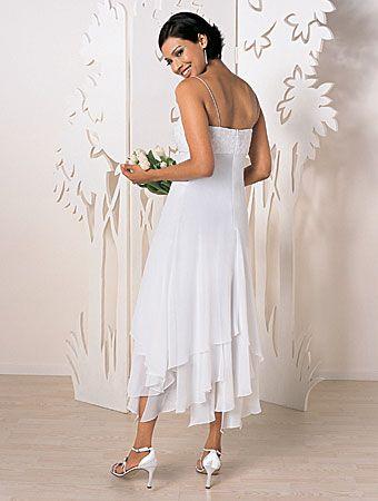 Tatered Hem Wedding Gown Slim Line Straps Handkerchief Hem Wedding