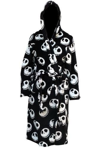 afe74170ca5 Nightmare Before Christmas - Jack Bathrobe Black soft fleece Hooded gown  All over Jack Skellington face design