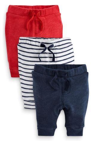Acheter Lot de trois pantalons de jogging rouge, bleu marine et rayé bleu marine (0-18 mois) disponible en ligne dès aujourd'hui sur Next : France